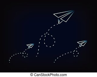 vector paper airplanes flying with dashed trails