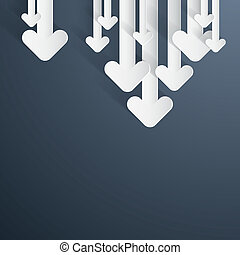 Vector Paper Arrows on Dark Blue, Grey Background