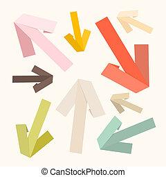 Vector Paper Arrows Set in Retro Colors
