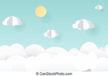 Vector paper art and craft style. Illustration of nature landscape, cloud