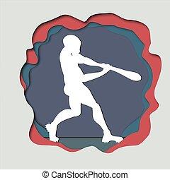 Vector paper art craft  illustration of a baseball player hitting the ball. Batter.