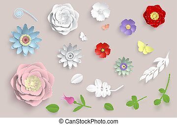 Paper 3d origami flowers set vector paper cut 3d origami flowers set vector paper art flowers set 3d origami flowers leaves and butterfly stock illustration mightylinksfo