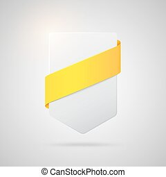 Vector paper badge with yellow silk ribbon