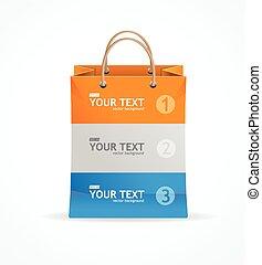Vector paper bag like option banner.