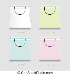 vector paper bag market icon Colorful White, blue, green, pink on white background