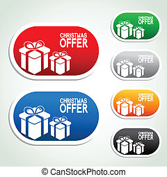 paper Christmas offer, gift, sticker