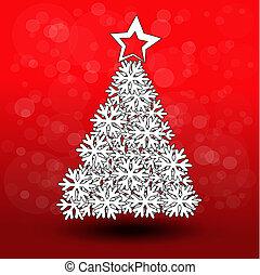 paper Christmas tree - snowflake decoration - EPS 10