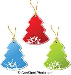paper Christmas tree, tag - snowflake decoration