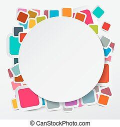 Vector Paper Circle on Colorful Square Round Rectangles...