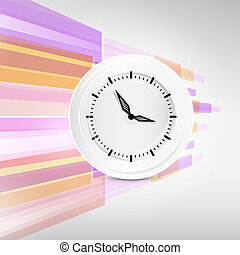 Vector Paper Clock on Modern Abstract Background Illustration