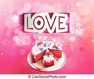 Vector paper curved inscription love cut on a pink background with cake