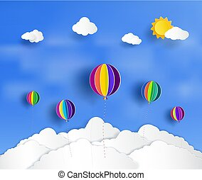 Vector paper cut. And there is a beautiful and colorful balloons floating above the clouds.