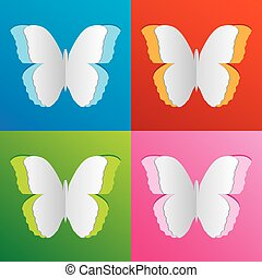 Vector paper-cut butterfly set