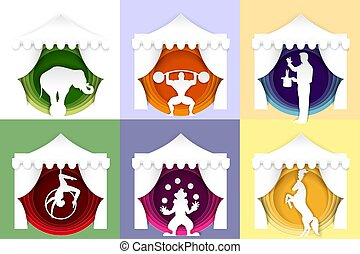 Vector paper cut circus poster, logo, card set
