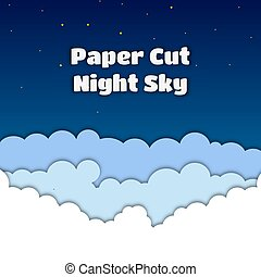 Vector paper cut illustration with night sky, clouds