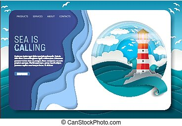 Vector paper cut lighthouse landing page website template