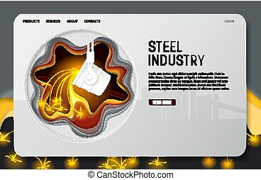 Vector paper cut steel industry landing page website...
