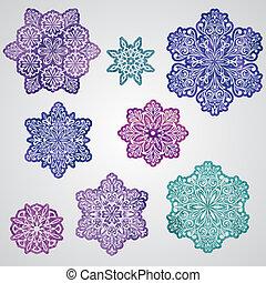 Vector Paper Cut Watercolor Snowflakes - Vector paper cut...