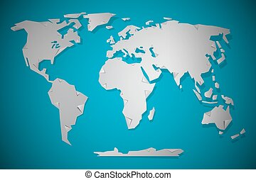 Vector Paper Cut World Map with Bent Corners on blue Background