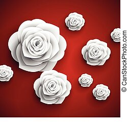 vector paper flowers roses abstract background