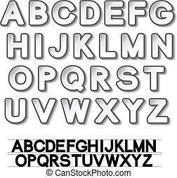 Vector paper font alphabet - white stickers