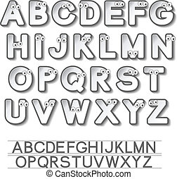 Vector paper font alphabet with eyes - white stickers