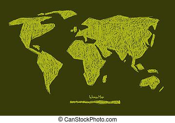 Vector Paper Hand Drawn Green World Map Illustration