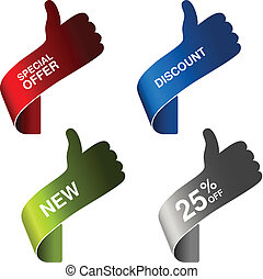 Vector paper hand gesture - special offer, discount, new, 25 off - illustration