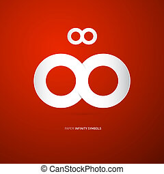 Vector Paper Infinity Symbol on Red Background