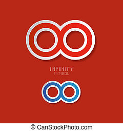 Vector Paper Infinity Symbols on Red Background