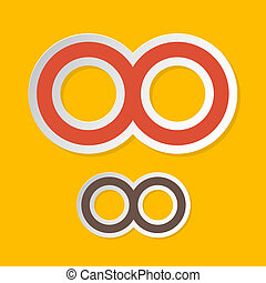 Vector Paper Infinity Symbols on Yellow Background