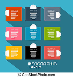 Vector Paper Infographics Template - Layout on Blue Background