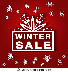 Vector paper label - winter sale, red background - Christmas offer