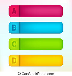 Vector paper labels with letters A, B, C, D