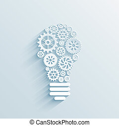 vector paper light bulb with gears and cogs, business interaction concept