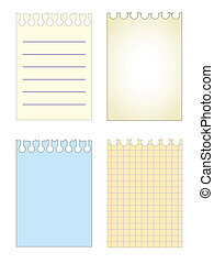 notebook sheets set pattern - vector paper notebook sheets...
