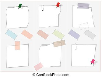vector paper notes with push pin and paperclip