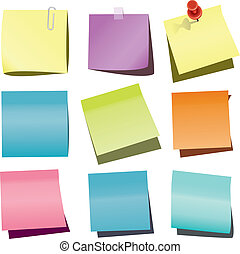 paper notes - vector paper notes with push pin and paperclip