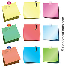 paper notes with push pin - vector paper notes with push pin...