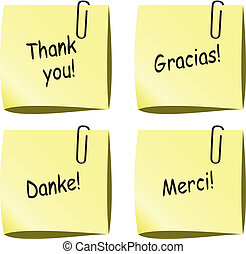 vector yellow paper notes with push pin and thank you words in english, spanish, german and french