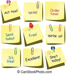 paper notes - vector paper notes with words, push pin and ...