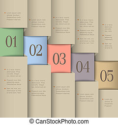 Vector paper numbered banners. Creative design template