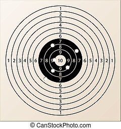 vector paper rifle target with bullet holes
