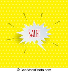Vector paper speech bubble with SALE word isolated on yellow comic book background.