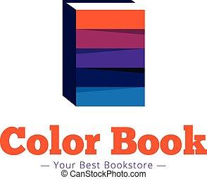 Vector paper style bookstore logo. Multicolor flat book logotype