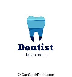Vector paper style tooth logo. Dental clinic flat logotype