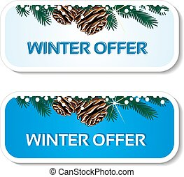 Vector paper winter offer, blue stickers on the white background - Christmas sale label with with pinecones and twig
