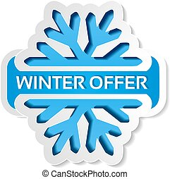 Vector paper winter offer symbol, blue sticker on the white background - Christmas sale label with snowflake
