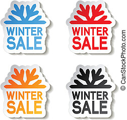 paper winter sale, sticker - Christmas offer