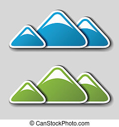 vector paper winter spring mountains symbols